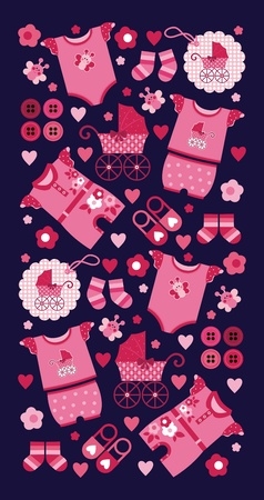 newborn baby girl: A set of beautiful things for the newborn girl. Vector Image Illustration