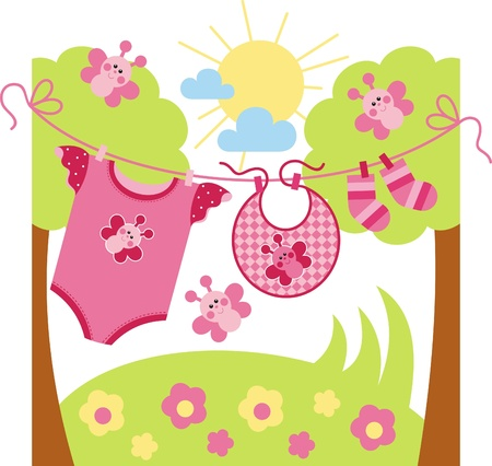 birth day: Wash children clothes Illustration