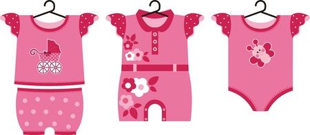 shirts on hangers: Different set of summer clothes for the little newborn baby