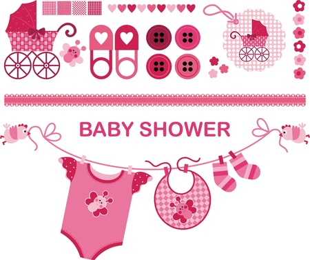 baby shower girl: A set of vector images on the childs birth