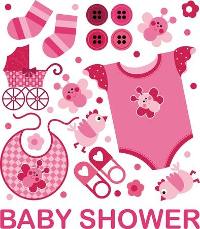 Zestaw obrazów wektorowych na urodzeniu dziecka Ilustracja