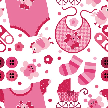 pram: A set of vector images on the childs birth. Seamless background