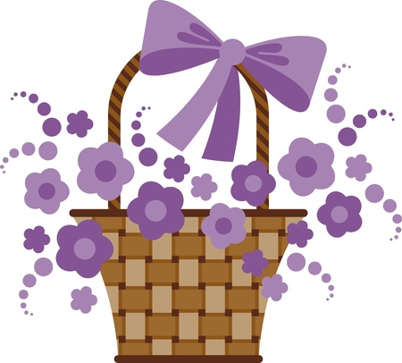 flower baskets: Vector image. Wicker basket with lavender flowers Illustration