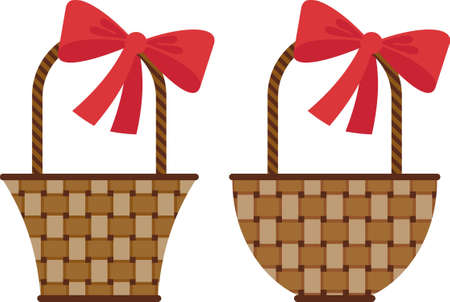 bast basket: Vector image. Wicker basket with a big red bow