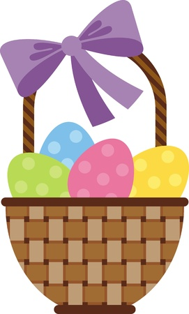 easter basket: Vector image. Wicker basket with Easter eggs with colored