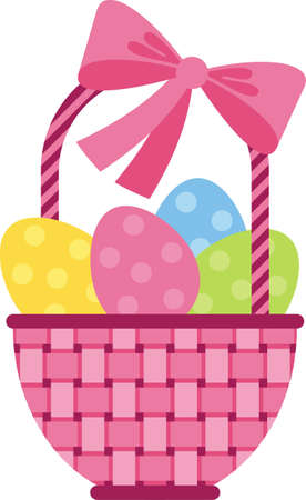 Vector image. Wicker basket with Easter eggs with colored