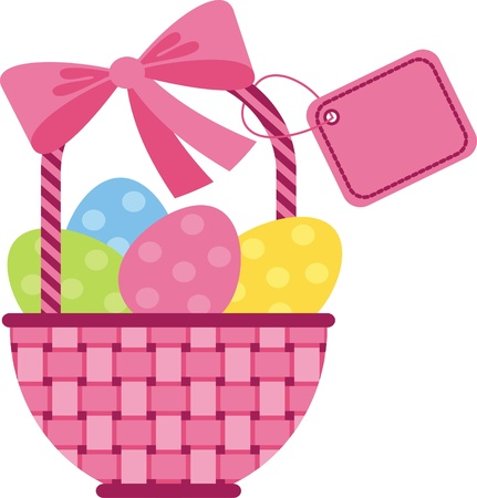 Vector image. Wicker basket with Easter eggs with tag