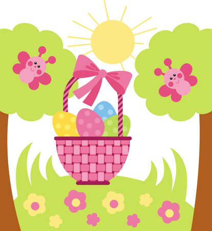 Vector image. Wicker basket with Easter eggs is in the meadow with flowers Stock Vector - 12369180
