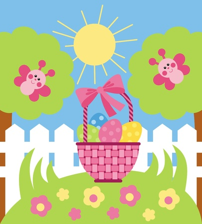 Vector image. Wicker basket with Easter eggs is in the meadow with flowers Stock Vector - 12369189