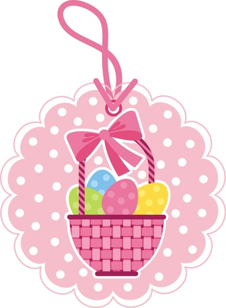 Vector image. Wicker basket with Easter eggs. Label for the product Stock Vector - 12369170