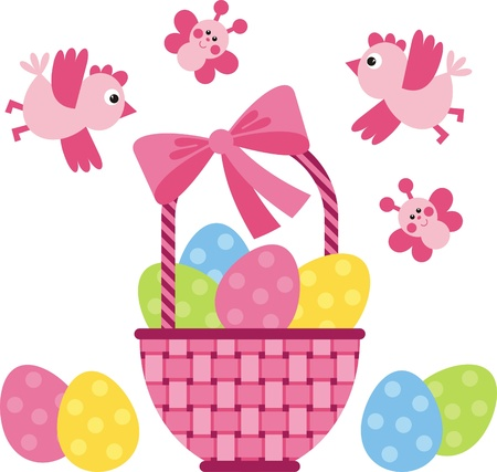 Wicker basket with Easter eggs with colored Stock Vector - 12369207