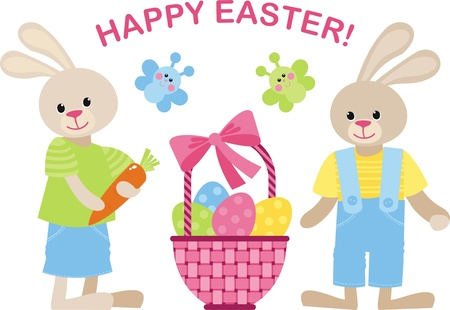 Wicker basket with Easter eggs with bunnies Vector