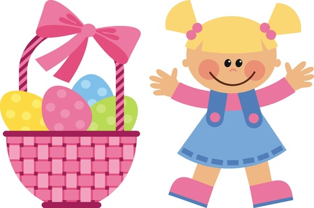 A little girl collects Easter eggs in basket Stock Vector - 12369179