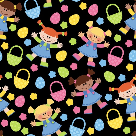 A little girl collects Easter eggs in basket Vector