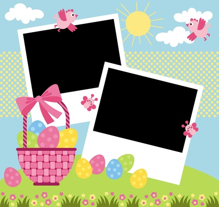 Happy Easter. Page for a scrapbook album (place for photo) Vector