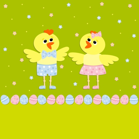 Greeting card with Easter chicks, Vector