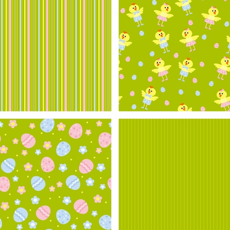set of backgrounds with eggs and chickens Vector