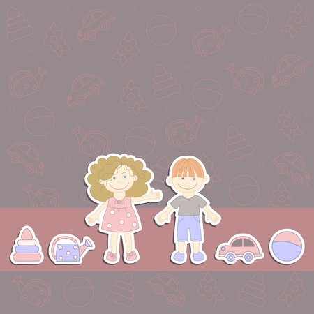 teenagers laughing: boy and girl in the background with toys Illustration