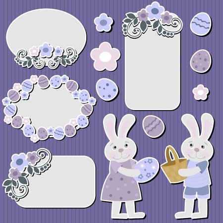 Easter bunny stickers and tags Vector