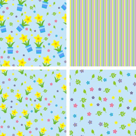 seamless pattern with spring flowers, vector illustration Vector