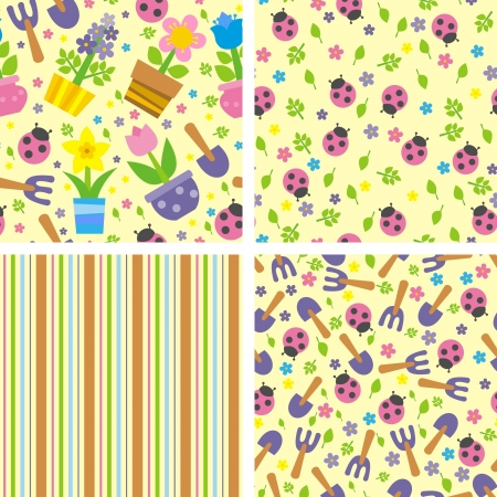 backgrounds with flowers and ladybugs, vector illustration Vector