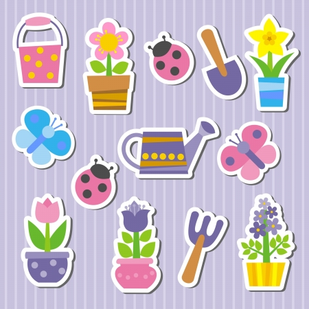stickers with flowers and ladybugs Vector