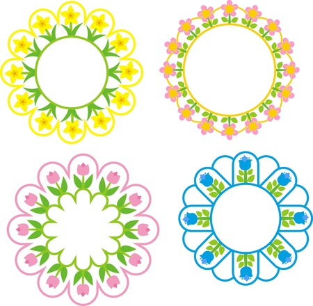 garden spring flowers in the circle Vector