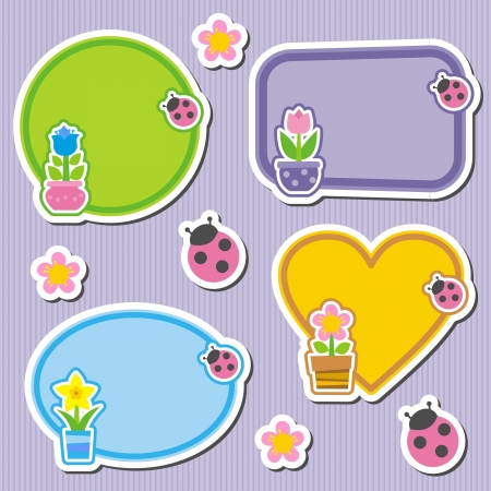 tags and labels with spring flowers and ladybirds Vector