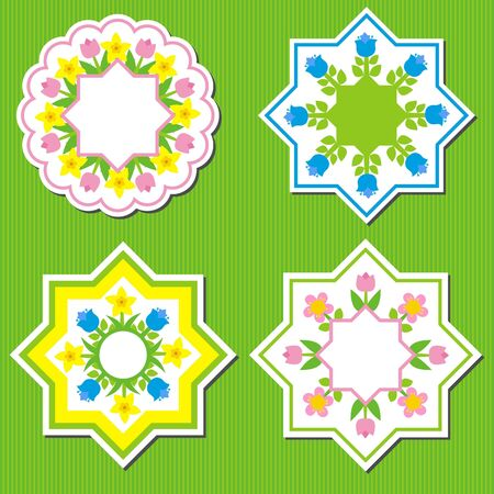 garden spring flowers in a circle a polygon Vector