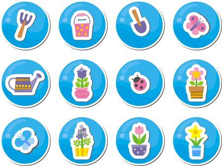 gardening buttons Vector