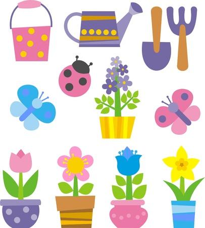 kwiaty, narzędzia ogrodnicze i owadów