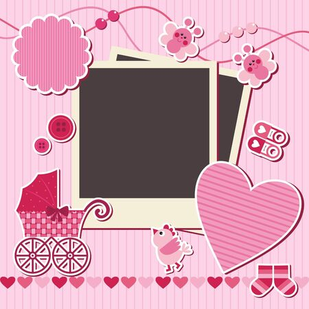 scrapbooking: set of design elements for scrapbook, vector illustration