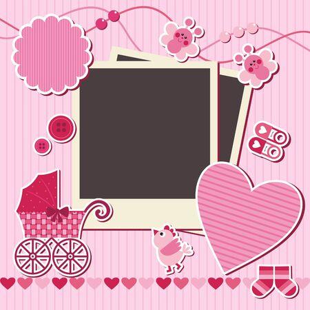 album greetings: set of design elements for scrapbook, vector illustration