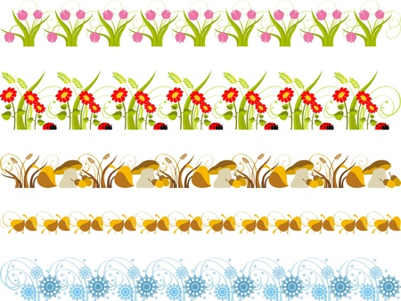 Borders with different seasons Vector