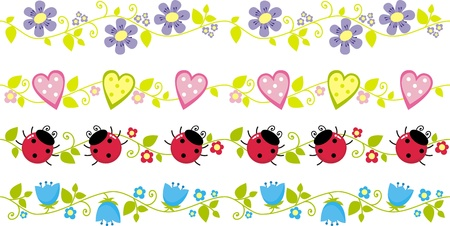 borders with flowers, leaves, ladybirds,  illustration