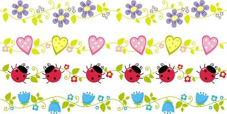 graniczy z kwiatami, liśćmi, biedronki, ilustracji