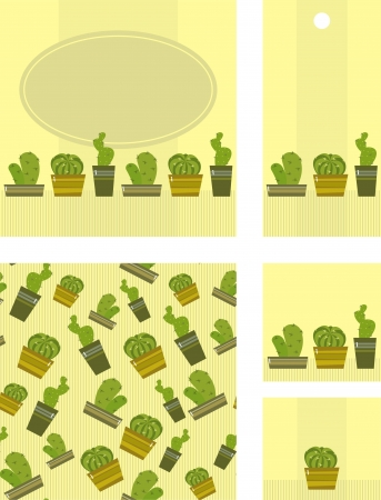 houseplant: set of labels and the background with cacti