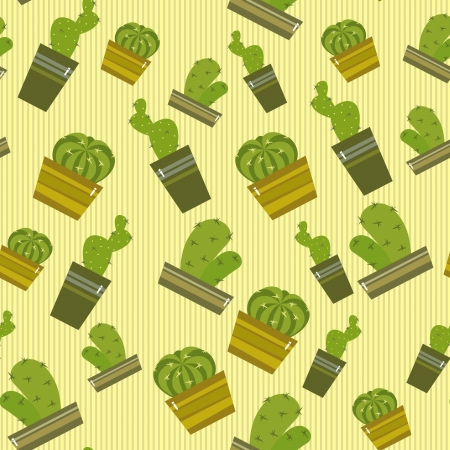 background with cactus in pots, illustration Vector