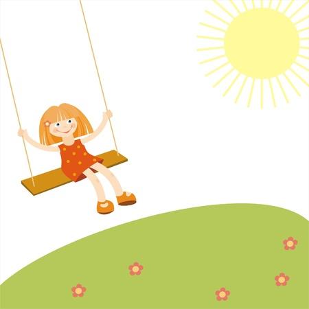 little girl on a swing,  illustration Vector