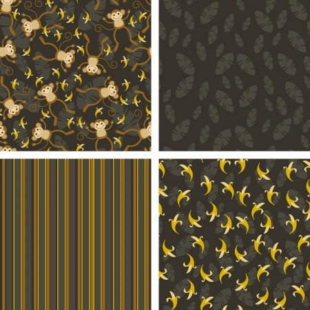 banana leaf: a set of backgrounds for scrap with the monkeys Illustration