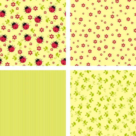 a set of seamless backgrounds for scrapbook with ladybugs, flowers and stripes Vector