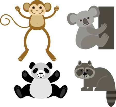 diverse collection of funny animals,  illustration Vector