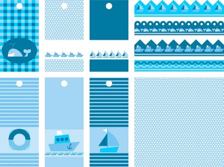 aro salvavidas: conjunto de etiquetas de �lbum de recortes, ilustraci�n