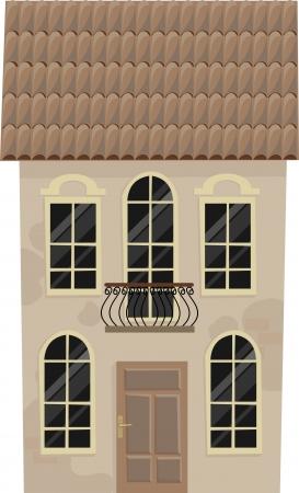 balcony door: casa antigua con un balc�n, ilustraci�n Vectores