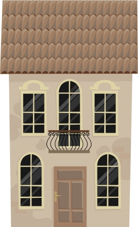 balcony: old house with a balcony,  illustration