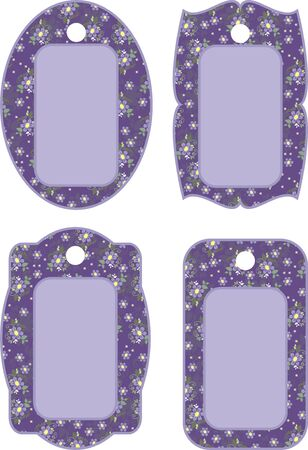lilac background: tag with flowers for scrapbook,  illustration