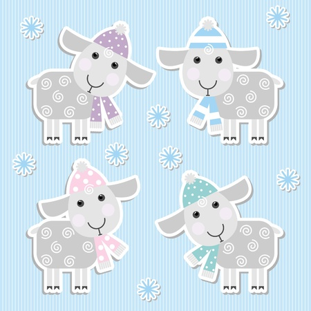 stickers with sheep on a blue background Vector