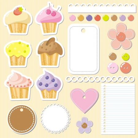 with sets of elements: set of elements to scrapbook with cakes,  illustration Illustration