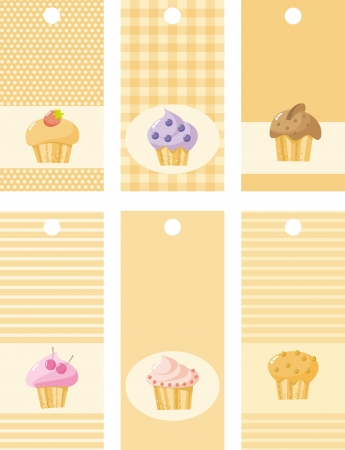 set of price tags and cakes, illustration Illustration