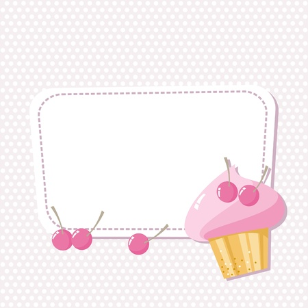 card with a picture of the cake with cherries Vector